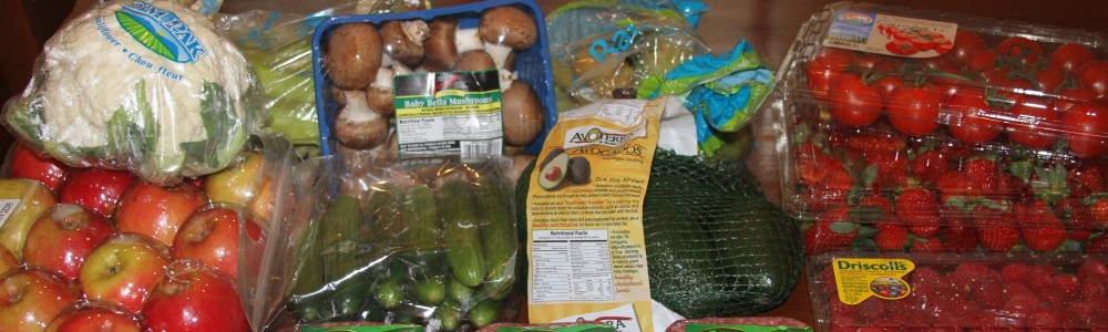 Veggies, fruit and organic ground beef from Costco