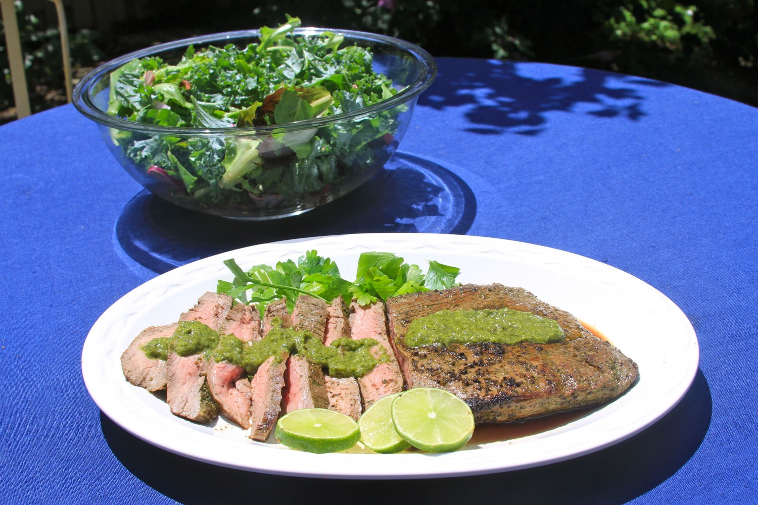 ... char grilled flank steak salad with chimichurri sauce makes an easy