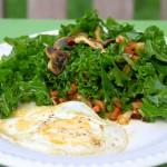 Paleo kale andouille salad