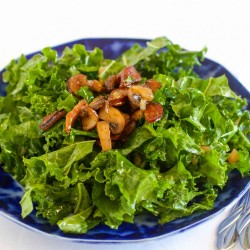 Kale Salad with Warm Andouille Sausage Dressing