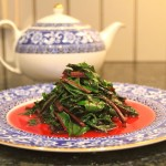 paleo sauteed beet greens with bacon fat and garlic