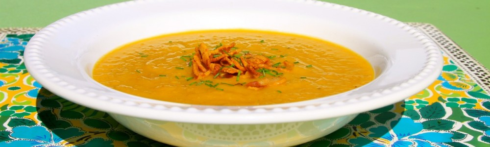 banana squash leek soup - header