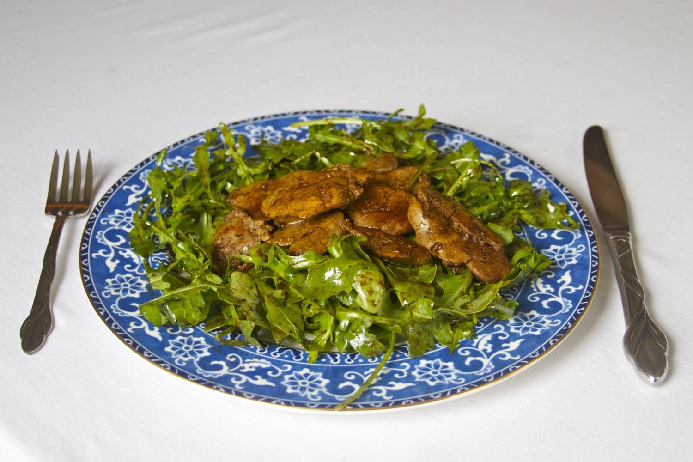 Chicken Liver Salad with Raspberry Vinaigrette