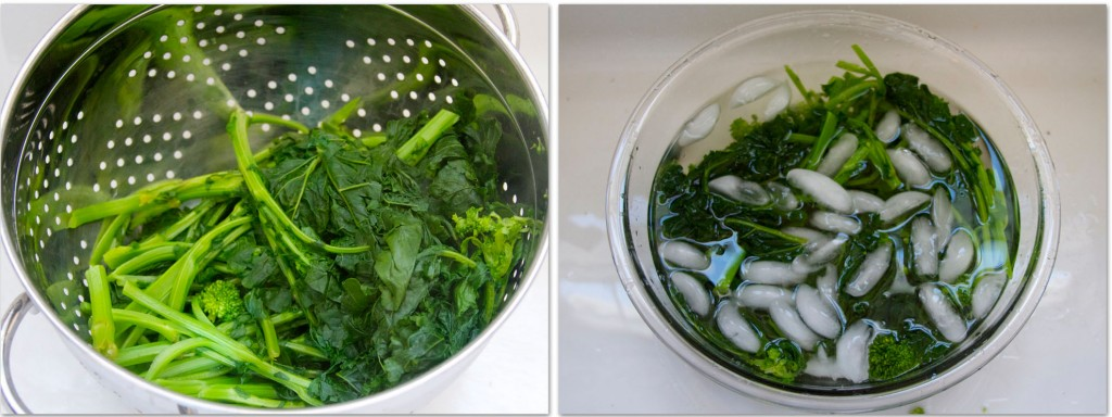 rapini drained and icebath