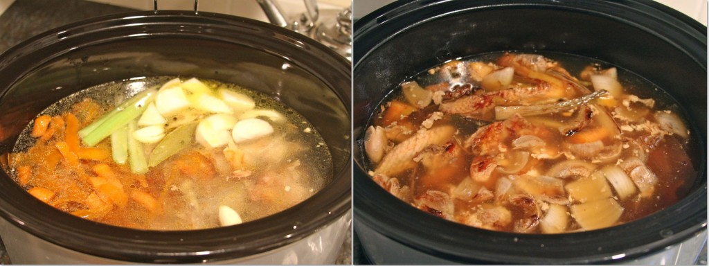 chicken stock ingredients before and after