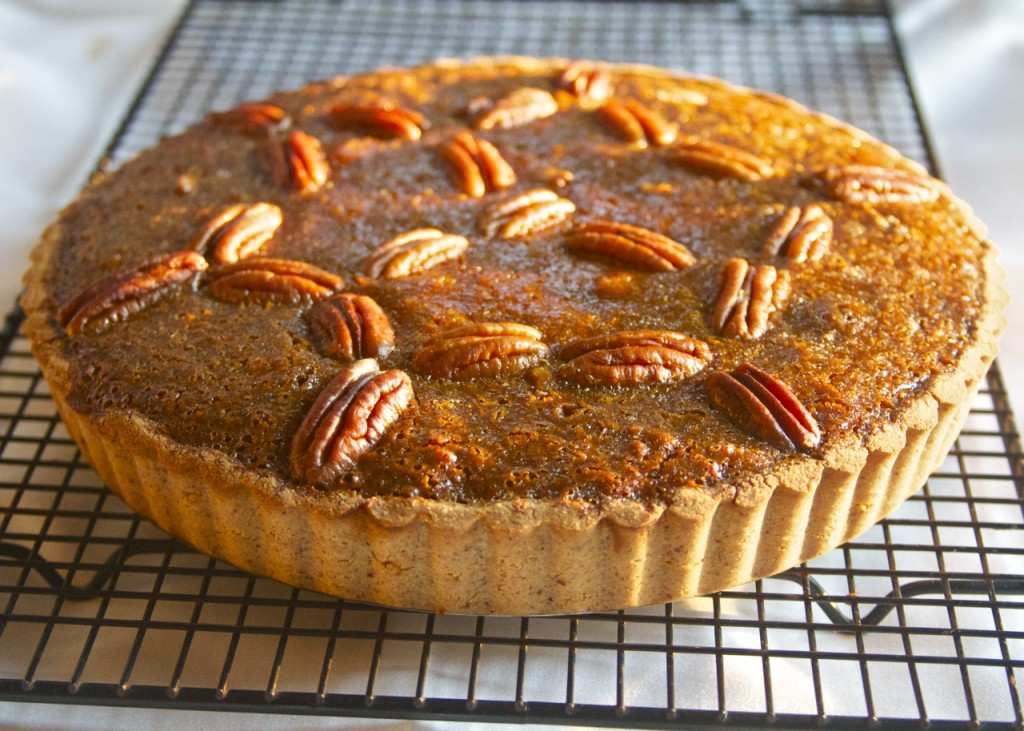pecan pie cooling on rack