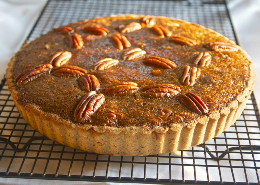 pecan pie cooling on rack