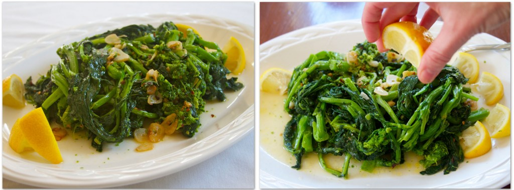 plate rapini with lemon