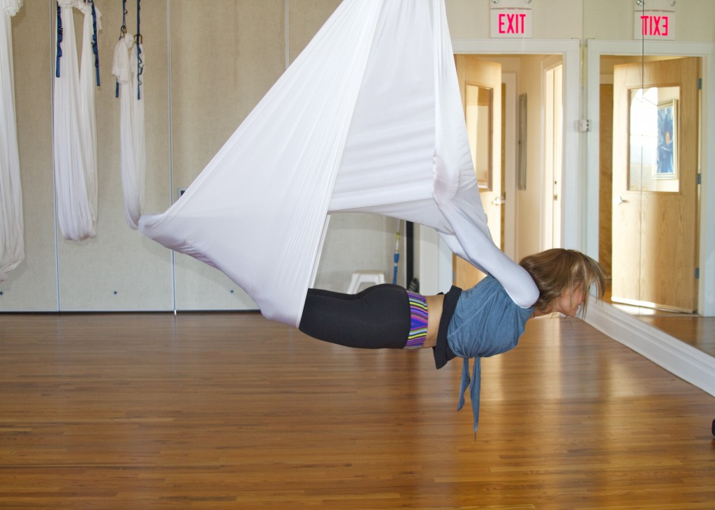 vampire pose in antigravity yoga