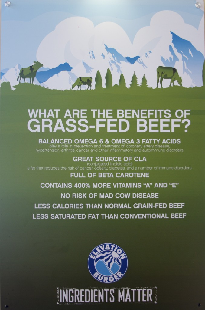 grass-fed beef at elevation burger