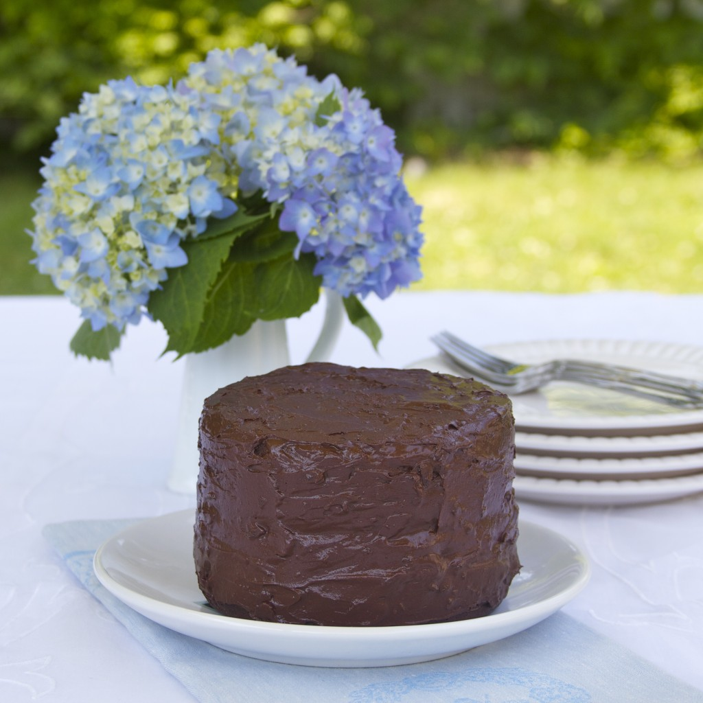 paleo chocolate birthday cake with chocolate frosting