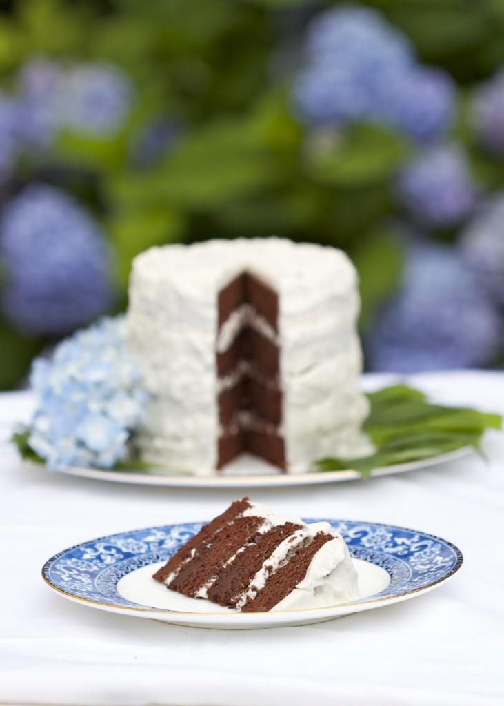 four-layer paleo chocolate cake
