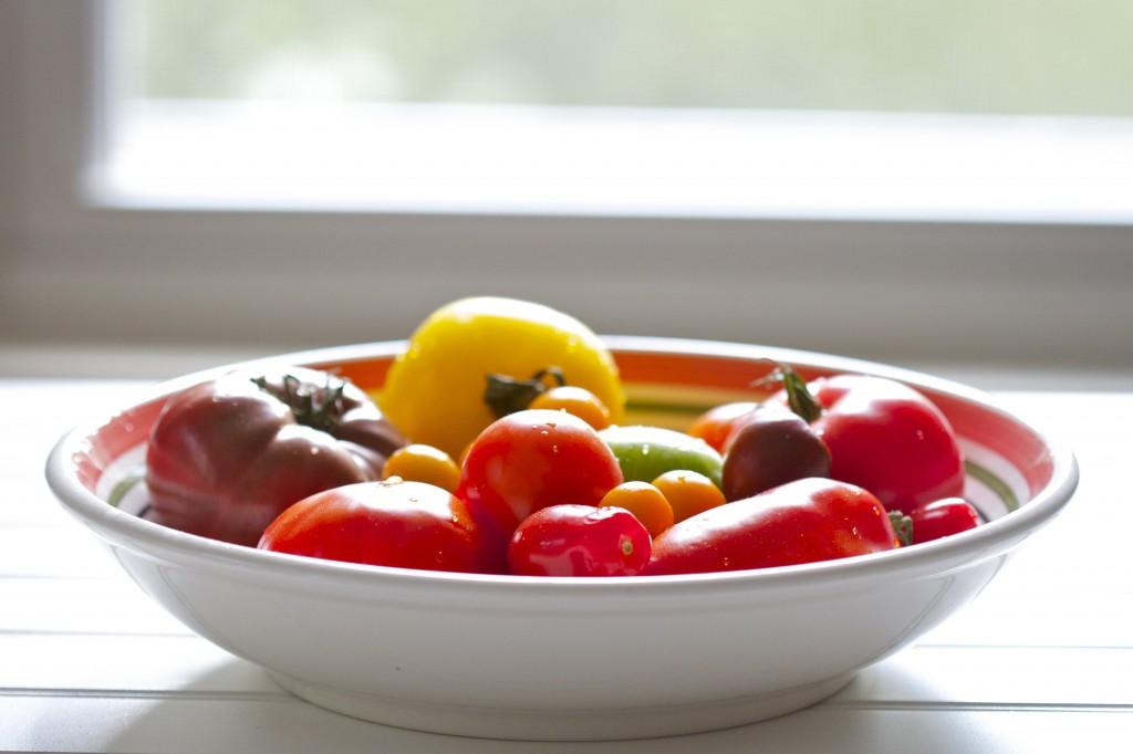 heirloom tomatoes by window