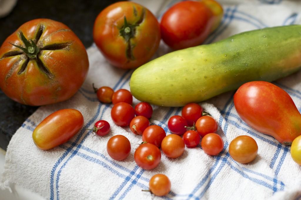veggies on towel