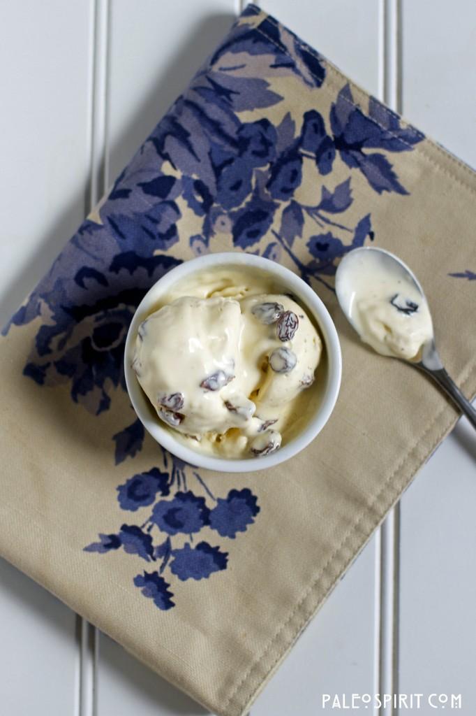 cup of primal rum raisin ice cream: PaleoSpirit.com