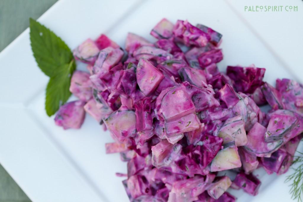 roasted beet and cucumber salad with yogurt dressing