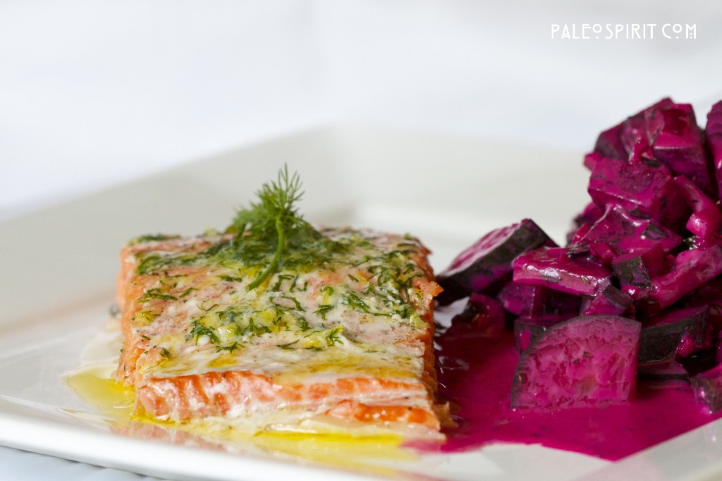 Salmon with beet and cucumber salad.