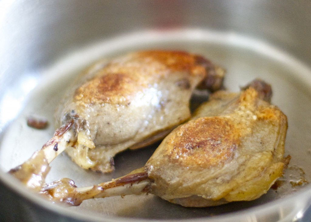 seared duck confit legs