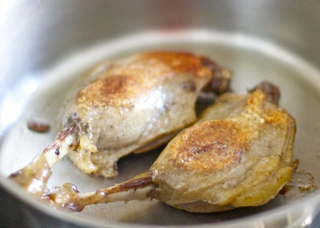 seared duck confit legs