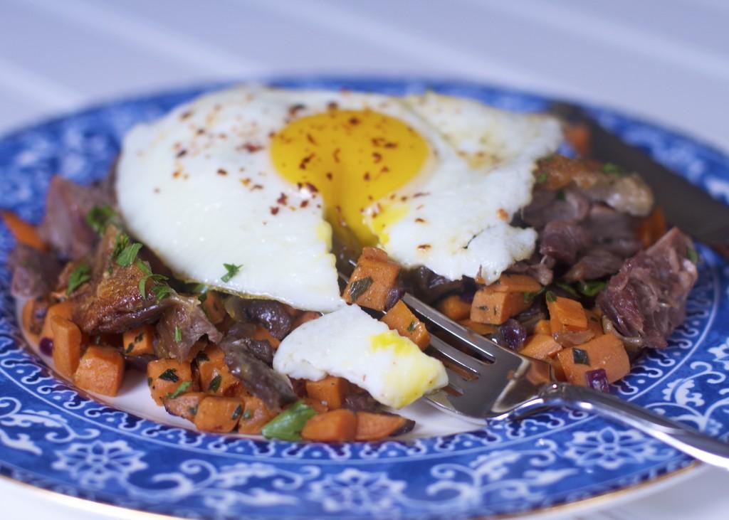 Duck Confit Hash with Egg: PaleoSpirit.com