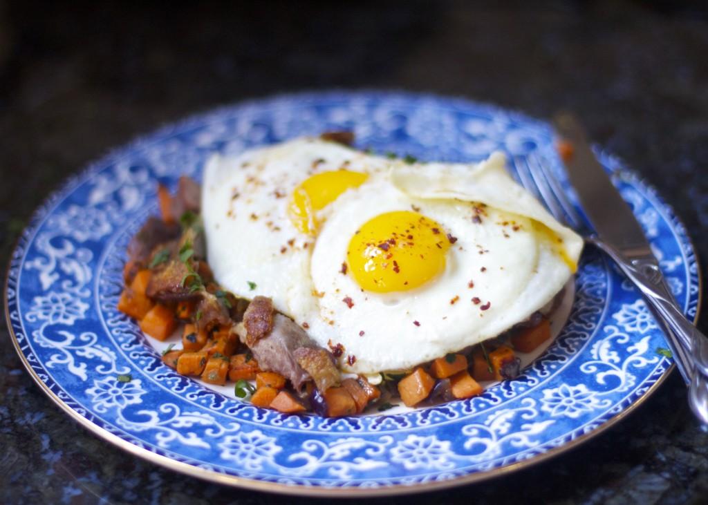 Duck Confit Sweet Potato Hash with Eggs: PaleoSpirit.com
