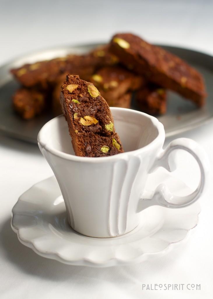 Paleo Chocolate Pistachio Biscotti: PaleoSpirit.com