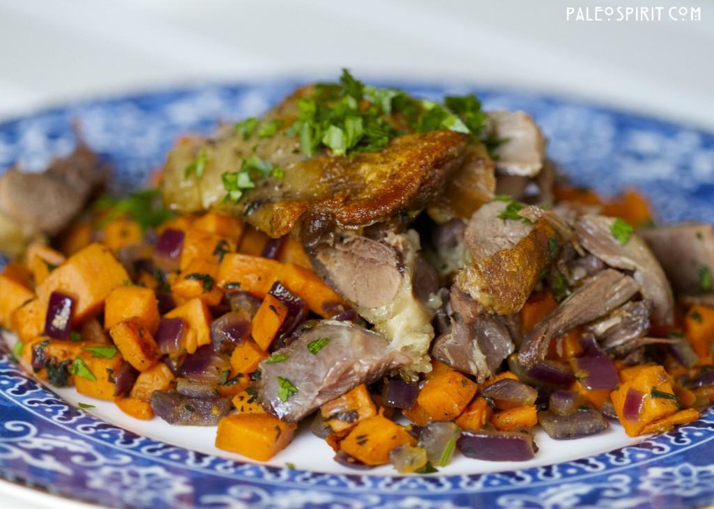 Duck Confit Sweet Potato Hash: PaleoSpirit.com