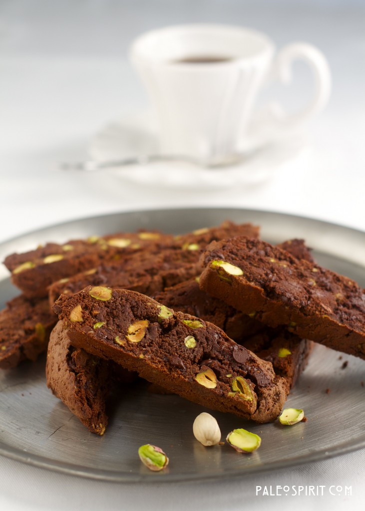 Paleo Chocolate Pistachio Biscotti:: PaleoSpirit.com