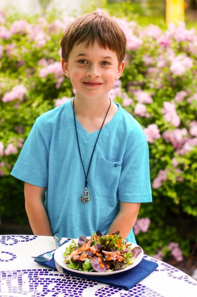 Nathaniel with salad-3