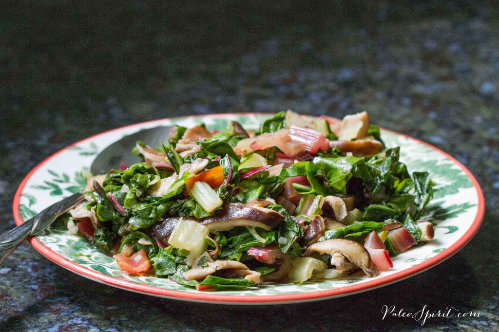 Rainbow Chard with Shiitake Mushrooms and Wild Garlic
