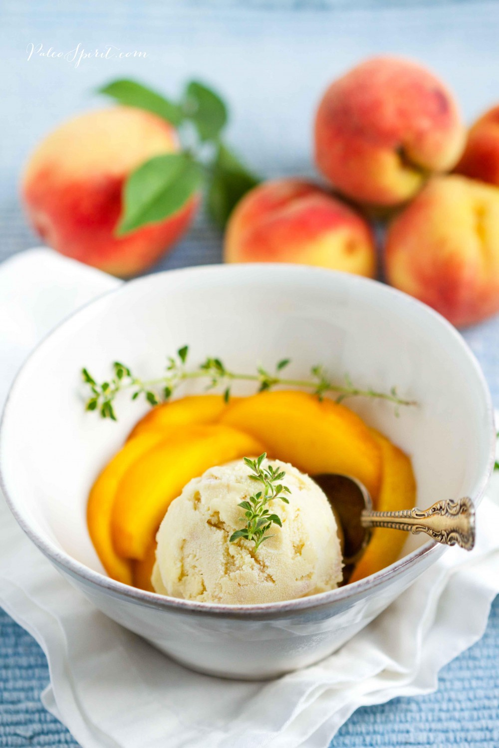 Paleo Peach Ice Cream with Lemon Thyme | Paleo Spirit