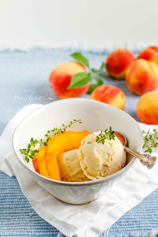 Roasted Peach and Lemon Thyme Ice Cream (Paleo & Dairy-free)