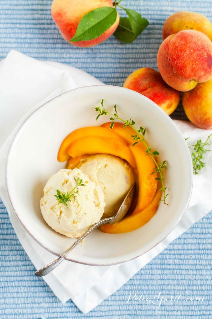 Paleo Peach Ice Cream with Lemon Thyme | Paleo Spirit