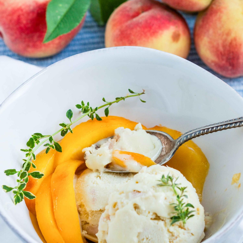 Roasted Peach and Lemon Thyme Paleo Ice Cream (Dairy-free)