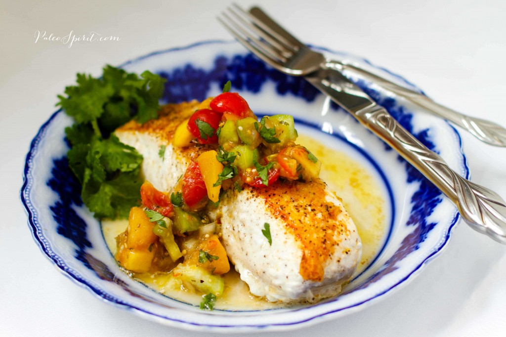 Halibut with Roasted Tomatillo Peach Salsa | Paleo Spirit