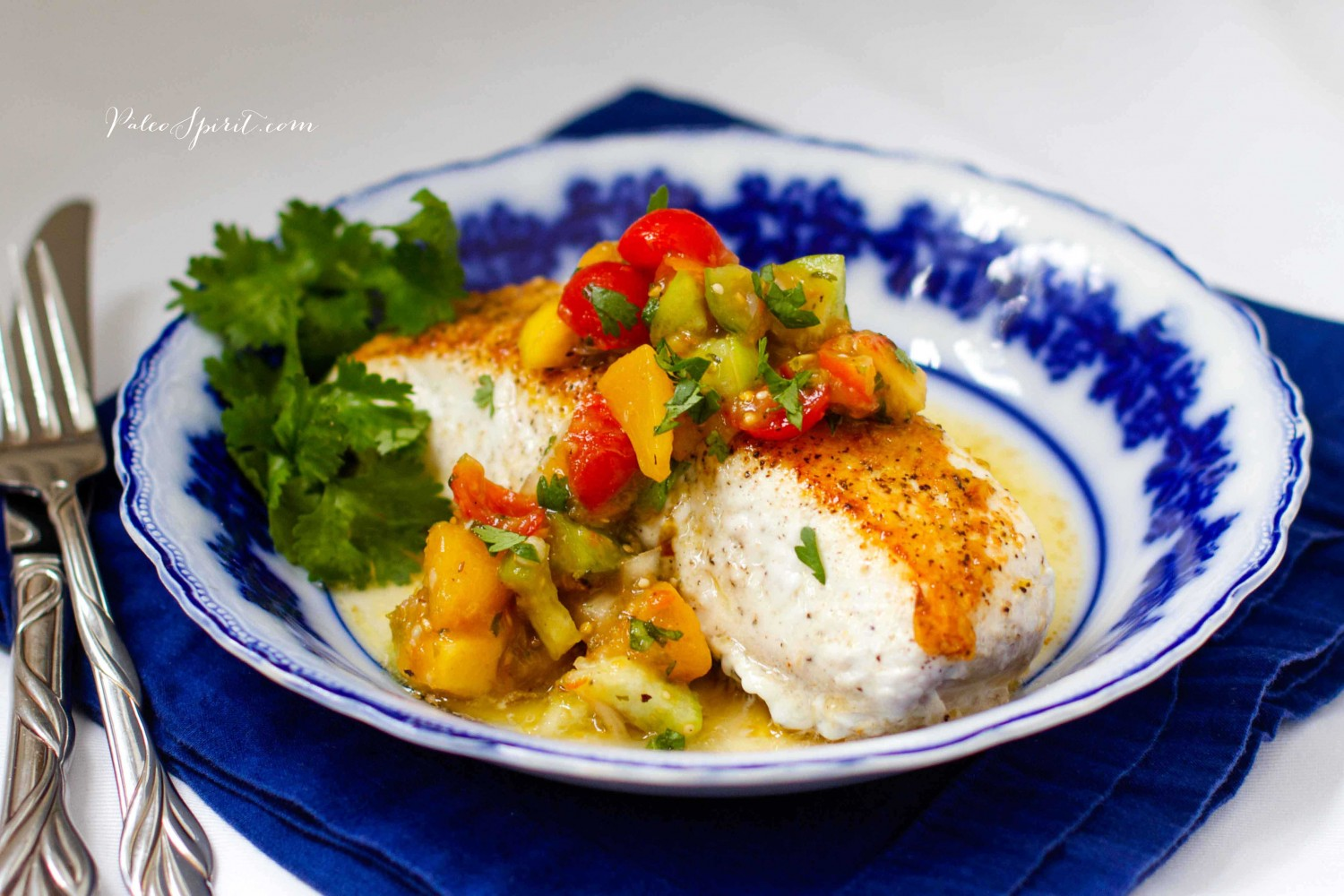 Pan-Fried Halibut with Roasted Tomatillo Peach Salsa | Paleo Spirit