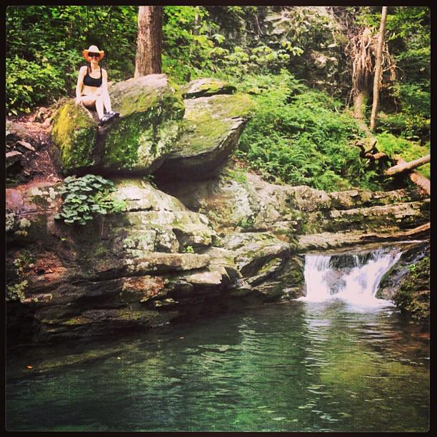 Lea at waterfall