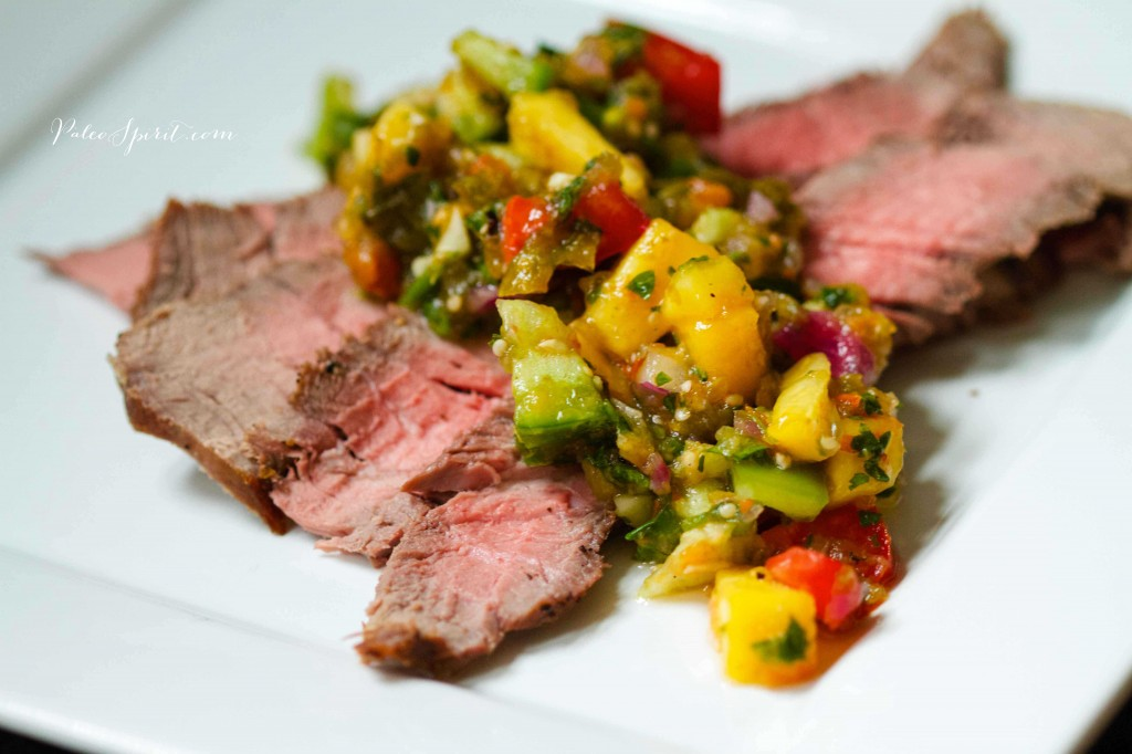 Steak with Roasted Tomatillo Peach Salsa | Paleo Spirit